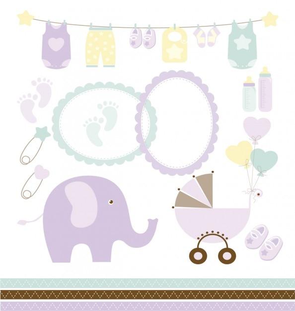 Baby-dusche-sammlung Kostenlosen Vektoren