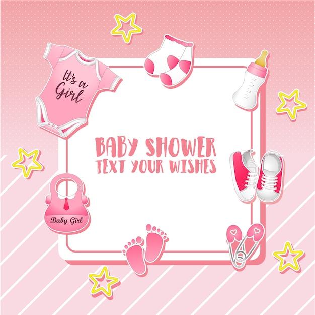 Baby-dusche-set. einladungsvorlage mit platz für text Premium Vektoren