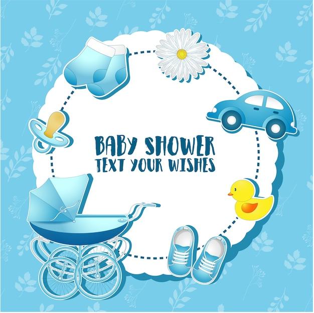 Baby-dusche-set Premium Vektoren