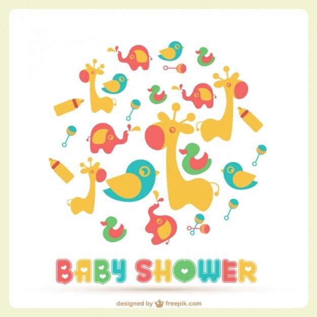 Baby-Dusche-Vektor-Vorlage   Download der kostenlosen Vektor