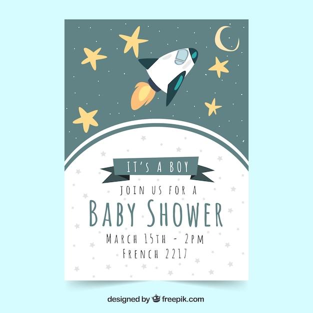 Baby-Dusche-Vorlage mit Rakete   Download der kostenlosen Vektor