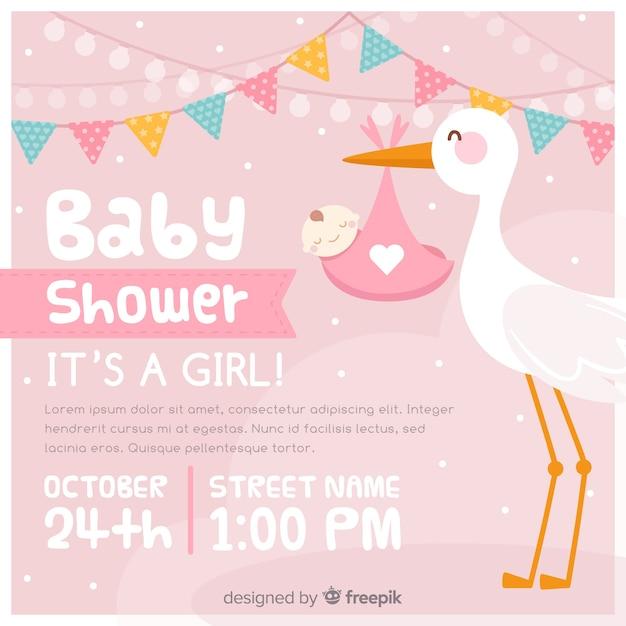 Baby-duscheeinladung Kostenlosen Vektoren
