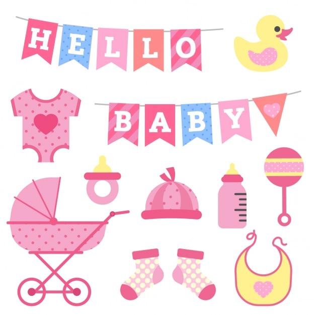 Baby-Duschen-Mädchen Objekte Clipart | Download der ...