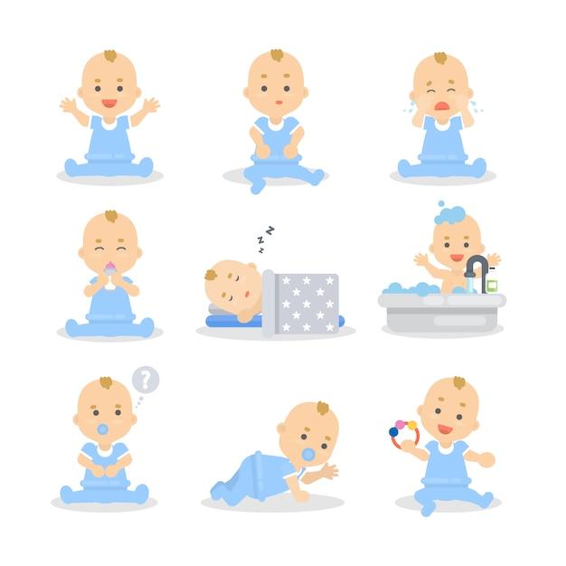 Baby eingestellt. nettes kind im blauen schlafen, spielen und essen. Premium Vektoren