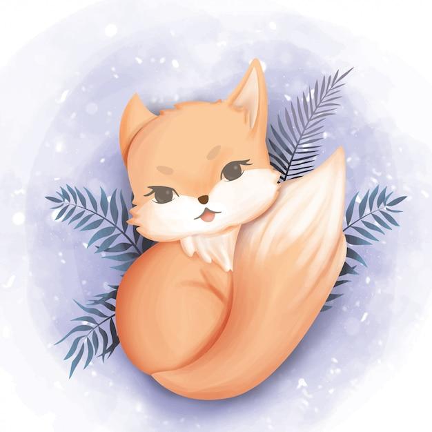 Baby fox glückliches gesicht aquarell Premium Vektoren