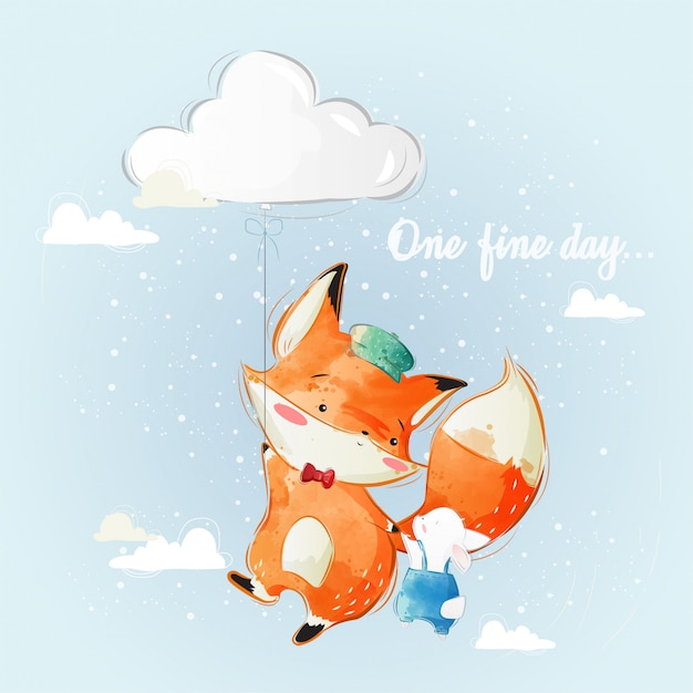 Baby fox mit hase fliegen Premium Vektoren