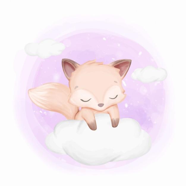Baby foxy schläfrig auf wolken Premium Vektoren
