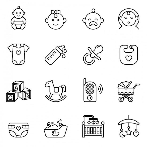 Baby, fütterung und pflege symbole festgelegt. line style aktie Premium Vektoren