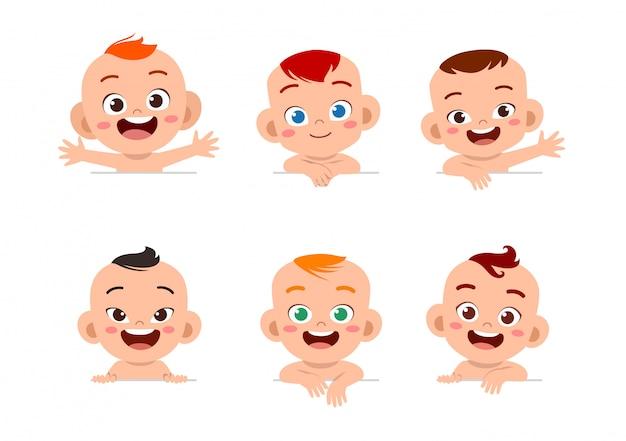 Baby gesichtsausdruck festgelegt Premium Vektoren