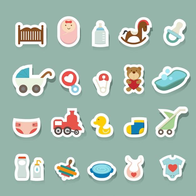 Baby-icons gesetzt Premium Vektoren