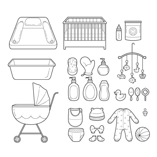 Baby icons set, umriss icons, ausrüstung für kleinkinder Premium Vektoren