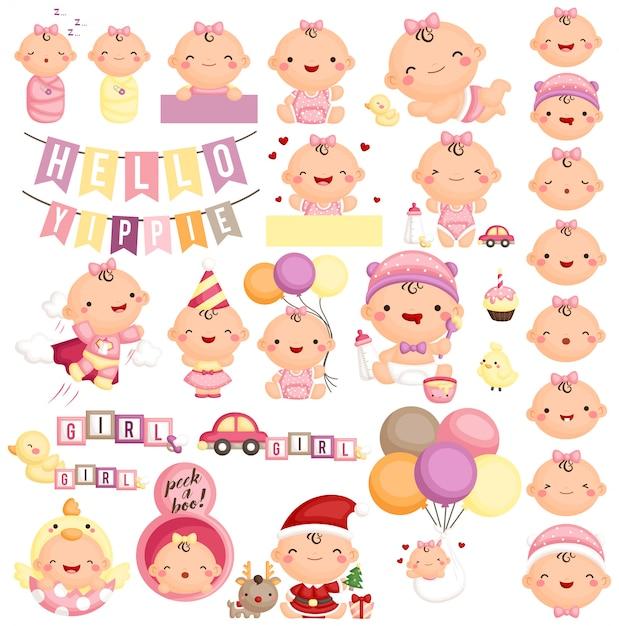 Baby in der verschiedenen tätigkeit und im ausdruck Premium Vektoren