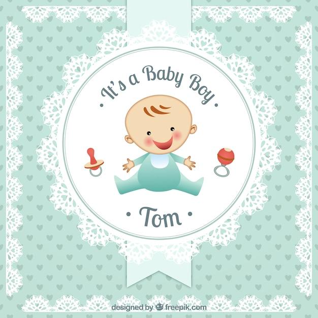 Baby-karte in deckchen stil Kostenlosen Vektoren
