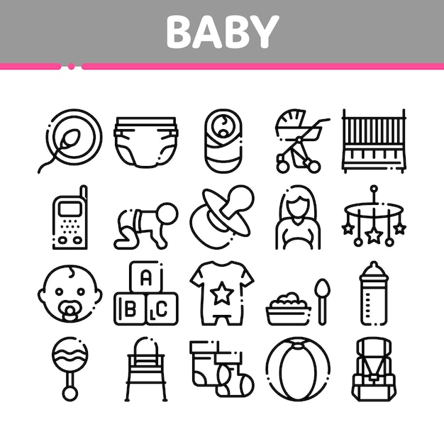 Baby-kleidung und werkzeug-sammlungs-ikonen eingestellt Premium Vektoren
