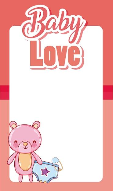 Baby-Liebes-Karte mit leeren Rahmen und niedlichen Cartoons ...