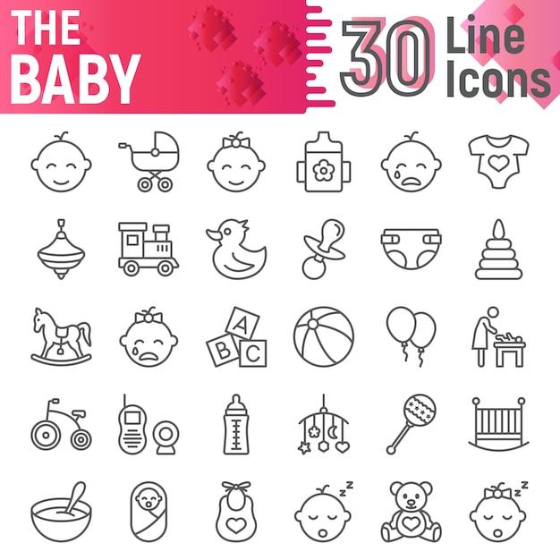 Baby line icon set, kindersymbolsammlung Premium Vektoren
