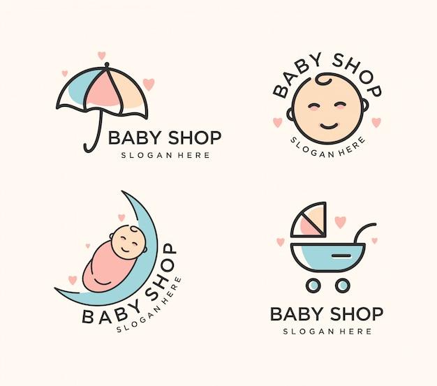 Baby-shop-logo festgelegt Premium Vektoren