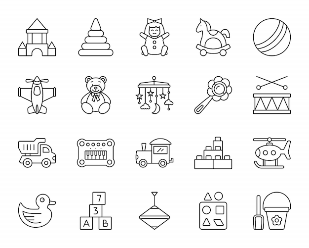 Baby-spielzeuglinie ikonen stellte ein, kinderspielzeichen, kinderspaß und tätigkeitsspiel. Premium Vektoren
