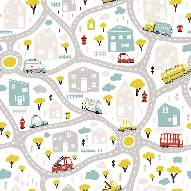 Baby stadtplan mit straßen und transport. vektor nahtloses muster. karikaturillustration im kindischen handgezeichneten skandinavischen stil. Premium Vektoren