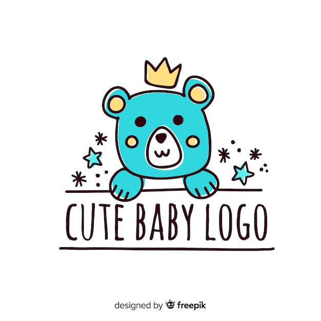 Baby süßes logo Kostenlosen Vektoren