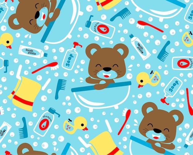 Babybärenkarikatur im badezimmer auf nahtlosem mustervektor Premium Vektoren