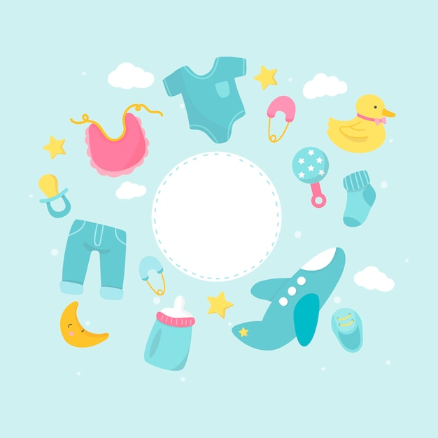 Babyduschen-themakopieplatz Kostenlosen Vektoren
