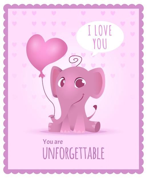 Babyelefant, kindereinladung mit niedlicher und lustiger entzückender kleiner karte oder plakat des afrikanischen elefanten Premium Vektoren