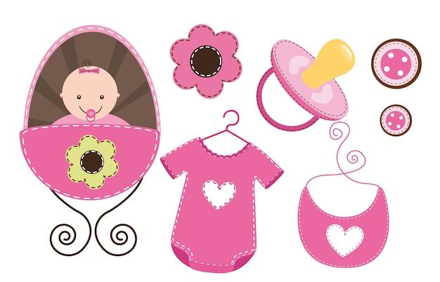 Babyelemente isolatedbaby mädchen-vektorabbildung Premium Vektoren
