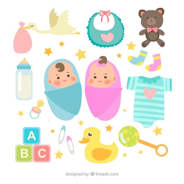 Babyelementsammlung in der flachen art Kostenlosen Vektoren