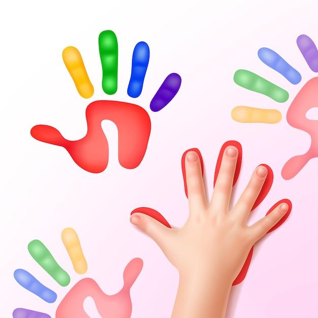 Babyhand mit bunten handabdrücken Kostenlosen Vektoren