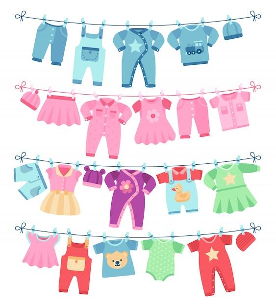 Babykleidung, die auf wäscheleinevektorillustration trocknet Premium Vektoren