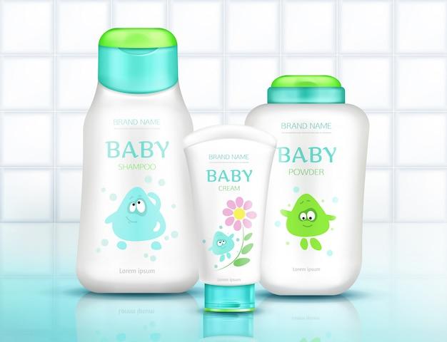 Babykosmetikflaschen mit kindern entwerfen, plastikpakete Kostenlosen Vektoren