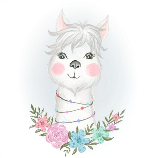 Babylama entzückend mit blumenaquarellillustration Premium Vektoren