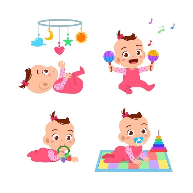 Babymädchen mit spielzeug gesetzt Premium Vektoren