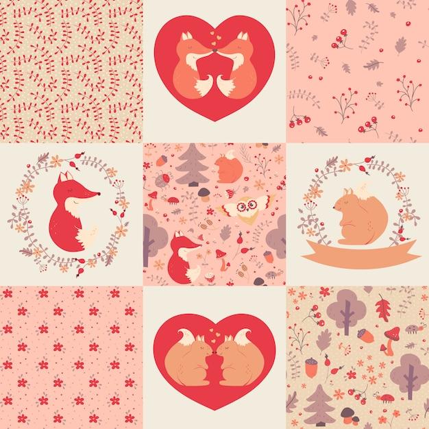 Babymuster und -illustrationen. sammlung. Premium Vektoren