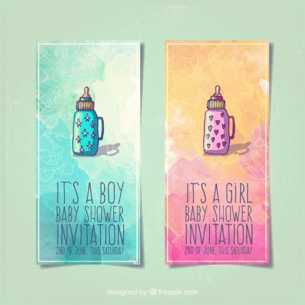 Babyparty Einladungen Mit Babyflaschen Premium Vektoren