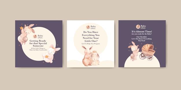 Babyparty-entwurfskartenaquarellillustration Kostenlosen Vektoren
