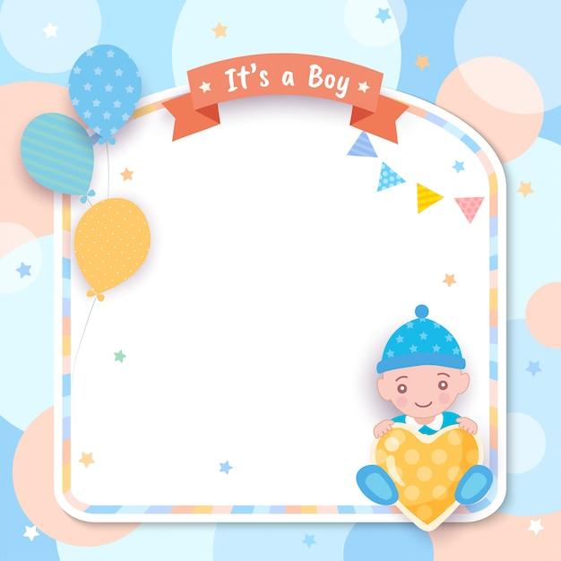 Babyparty. es ist ein junge mit ballonen und rahmen Premium Vektoren