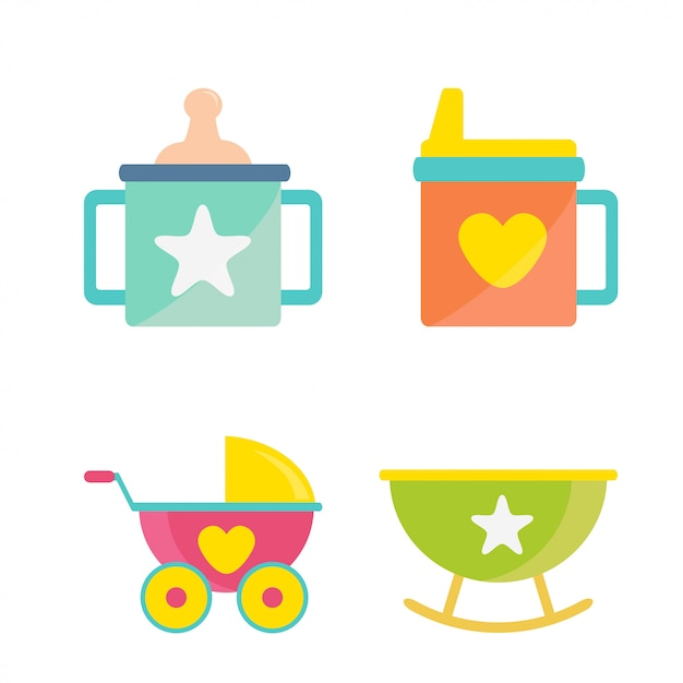 Babyparty-ikonen-gesetzter vektor Premium Vektoren