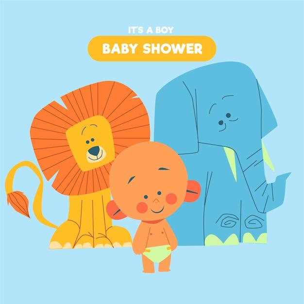 Babyparty (junge) mit elefant und löwe Kostenlosen Vektoren