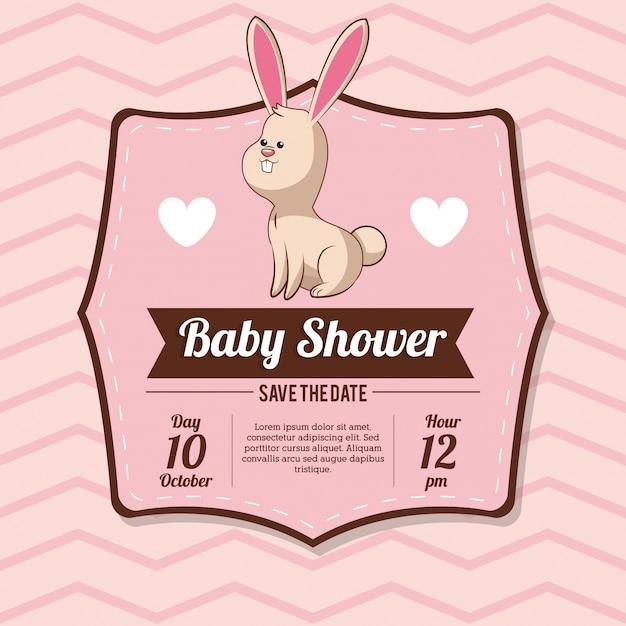 Babyparty-karteneinladung mit häschenherzdekoration Premium Vektoren