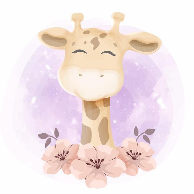 Babyparty-kleine nette giraffe Premium Vektoren