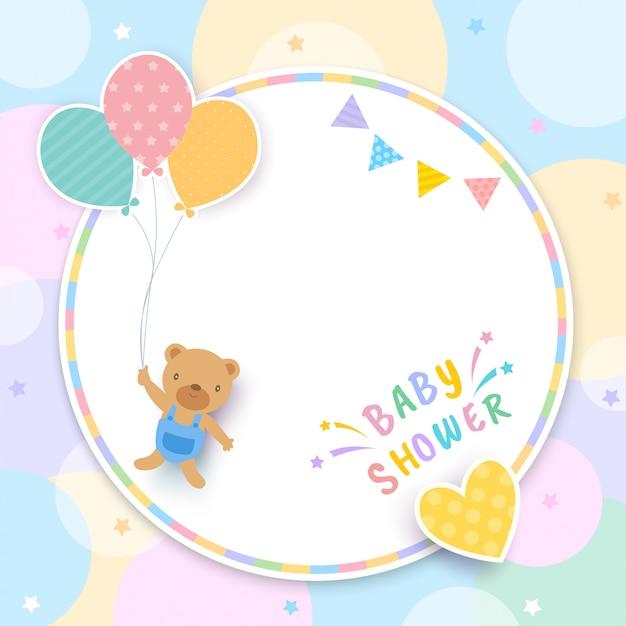 Babyparty mit dem bären, der ballone und kreisrahmen hält Premium Vektoren