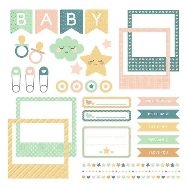 Babyparty sammelalbum gesetzt Kostenlosen Vektoren