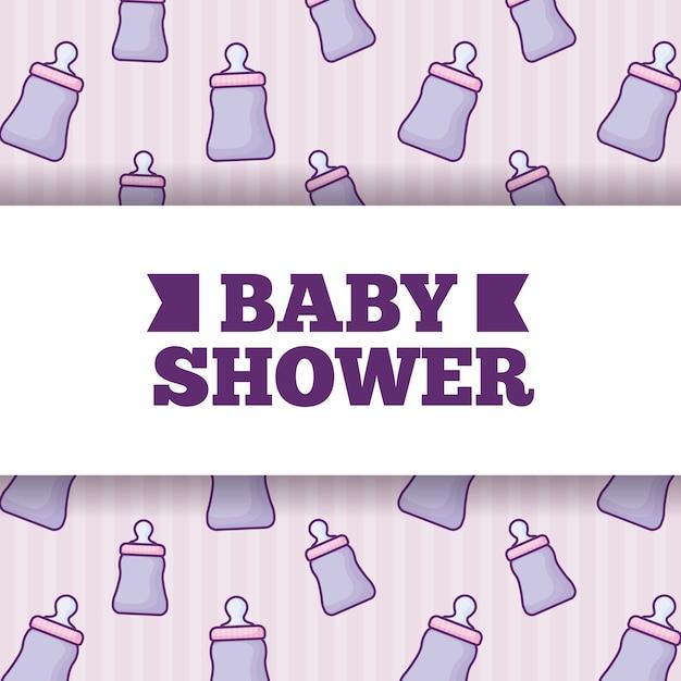 Babyparty über babyflaschenhintergrund Premium Vektoren