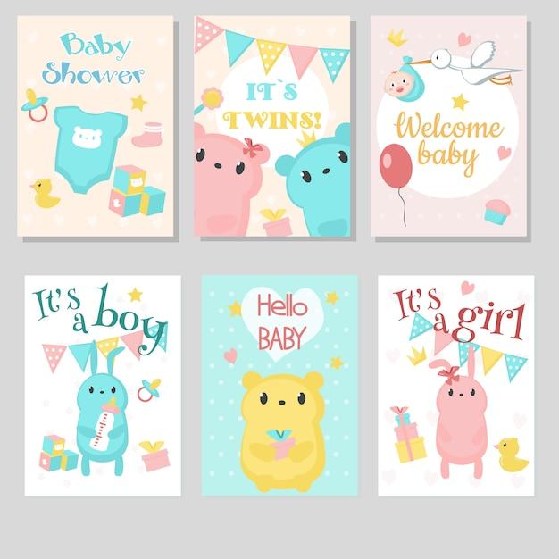 Babypartyeinladungs-grußkartensatz. Premium Vektoren
