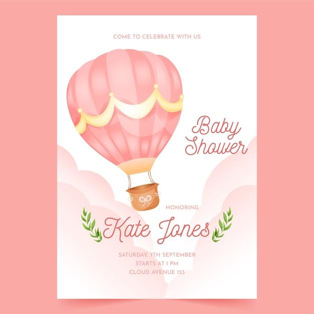 Babypartyeinladungsschablone für mädchen Kostenlosen Vektoren