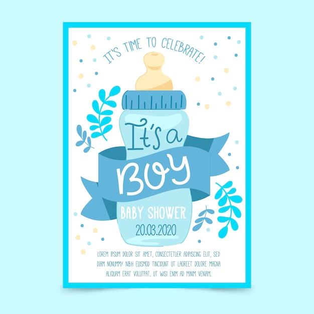 Babypartyeinladungsschablone (junge) Premium Vektoren