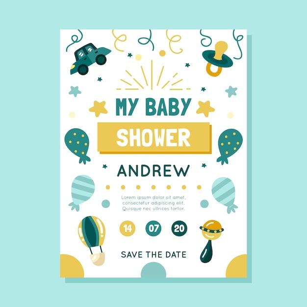 Babypartyeinladungsschablone Kostenlosen Vektoren