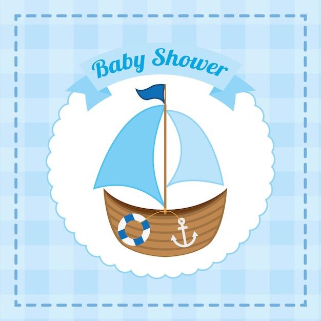 Babypartyentwurf über blauer hintergrundvektorillustration Premium Vektoren